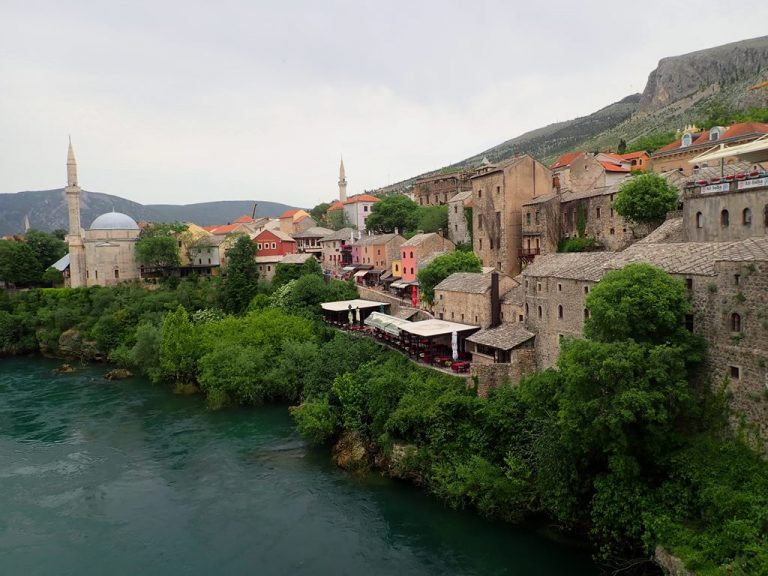 Mostar, old town over Neretva river