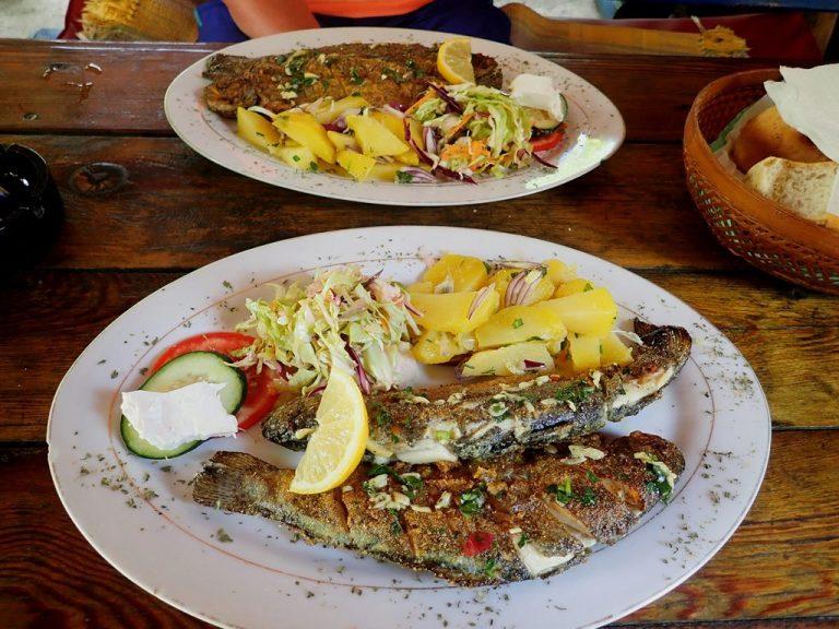 Tasty Neretva river trouts