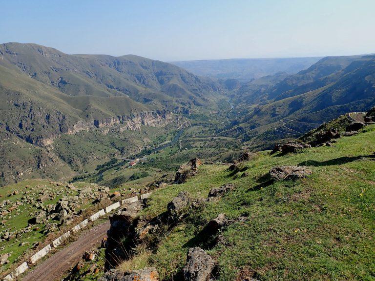 Stunning view at the Vardzia cave monastery and Mtkvari river valley.