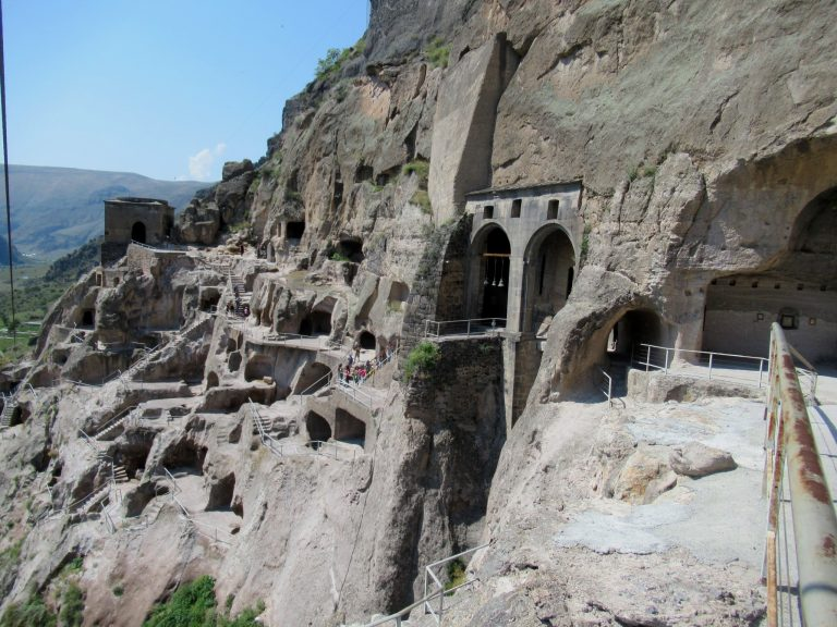 Vardzia cave town, 13 floors connected with the labyrinth of 3 000 caves and tunnels into the rockface.