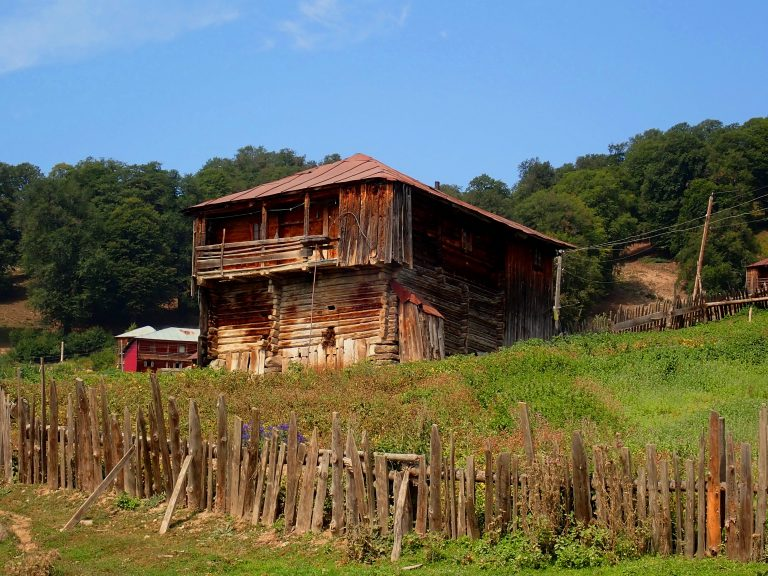 Traditional wooden houses of farmers in Adjara mountains, where they stay during the summer only.