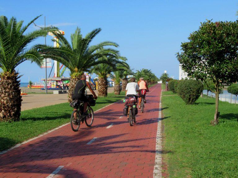 Bike path leads along all long Black Sea coast in Batumi.