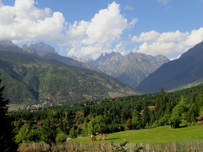 Mestia, the centre of Upper Svaneti, situated on the southern slopes of the central Caucasus Mountains.