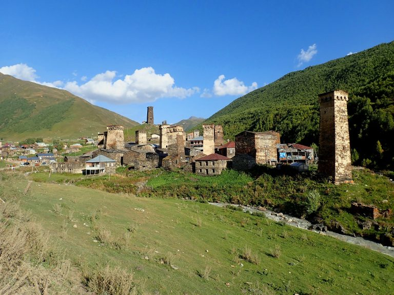 Ushguli village (2 100 m) - one of the highest continuously inhabited settlements in Europe with typical Svaneti defensive tower houses,