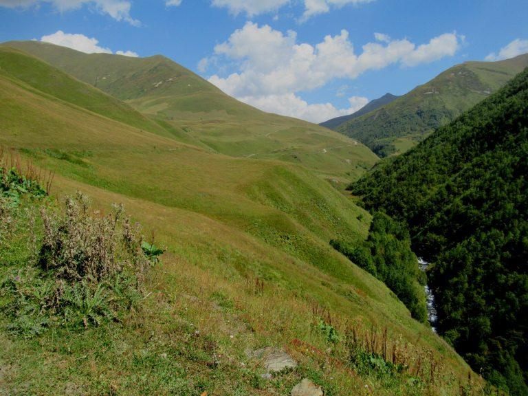 Uphill from Ushguli to Zagaro Pass following jeep track.
