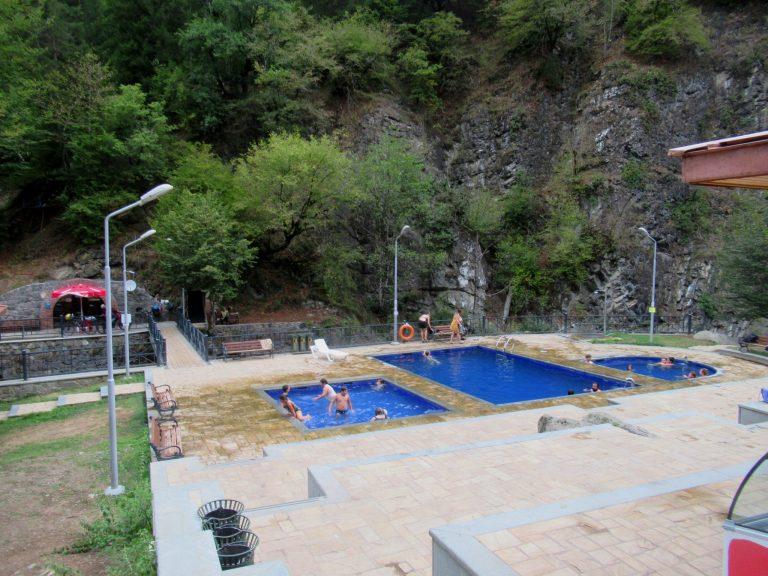 Natural open sulphur baths at the top end of Borjomi Central Park.