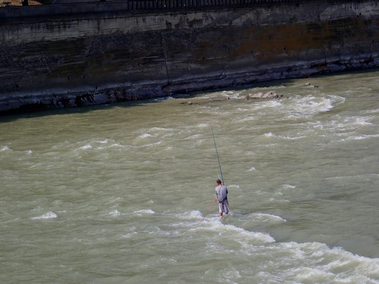 Fishing in the middle of Tbilisi.