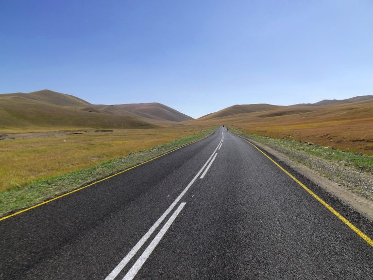 The first and last asphalt on 20 km long nobody's land :) between Russia and Mongolia.