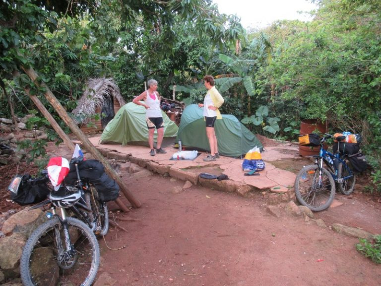 Base camp in their garden. They never seen headlamps, sleeping bags or self-inflatable mattresses before.