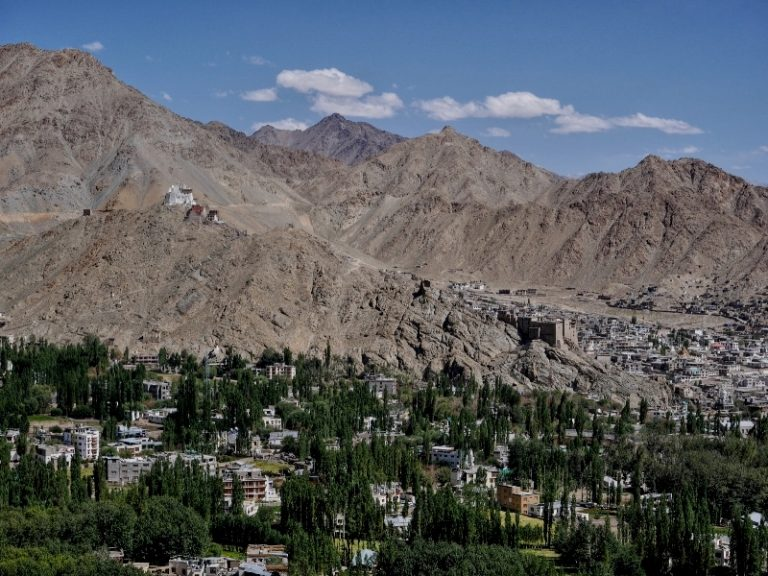Leh town, Ladakh's capital, at an altitude of 3,500m. Mountains dominate the landscape around the city.