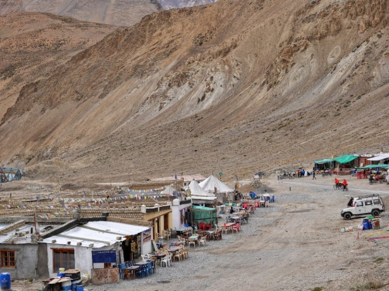 Seasonal tents (dhabas) in Pang, the world's highest army transit camp.