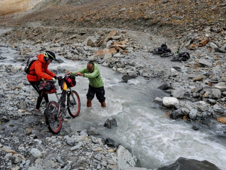 First river crossing close to glacier, cold and strong.