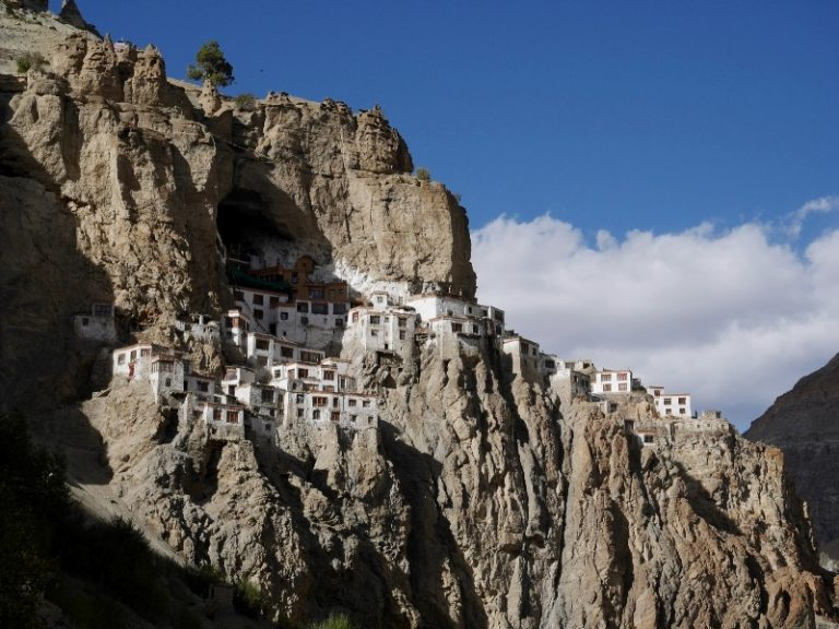 The most spectacular gompa we have seen, inside and around giant cave about 100 m above the riverbed.
