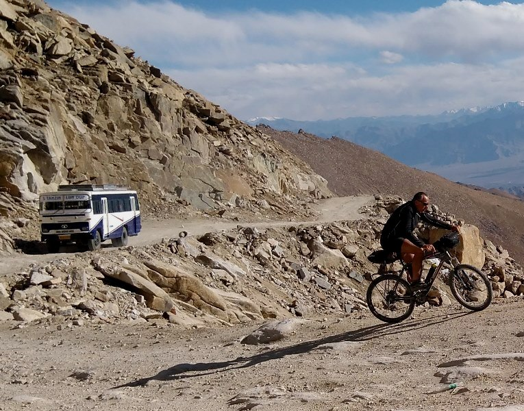 Last km's to Khardung La, tough, rough, hard and high :)
