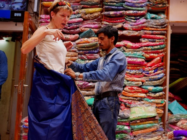 Our shopping: sari or saree, mostly used daily clothing for women in India.