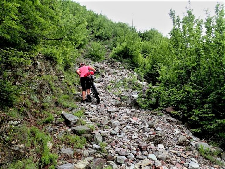 Hard section on unknown MTB route between Kir and Drin rivers.