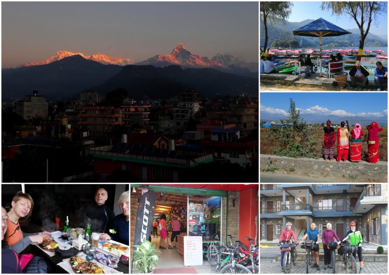 After 5 days in the saddle finally Pokhara! Walking, cleaning, washing, eating - simple resting under sacred and never climbed Machapuchare peak in warm and partially European style city.