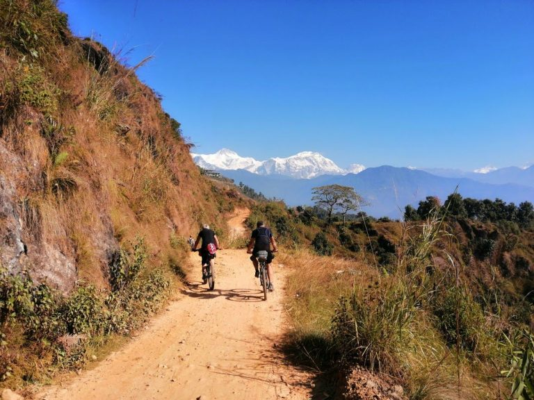 1000 m climb from Pokhara and Phewa Lake to Sarangkot - stunning view point on Annapurna Himalayas.