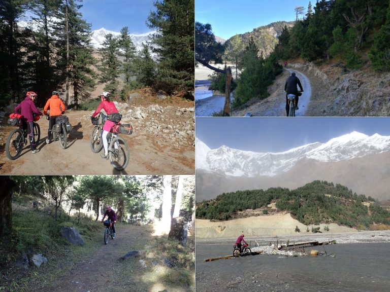 First frosty morning and warm-up on single trails on the way back to Kali Gandaki valley.