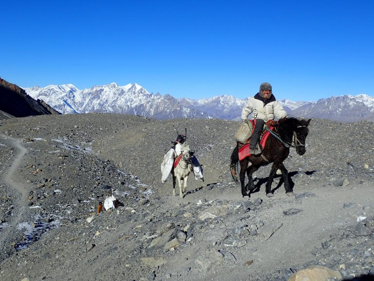 Horse & bike & hike section to iconic Thorong La pass, highest point on our trip.