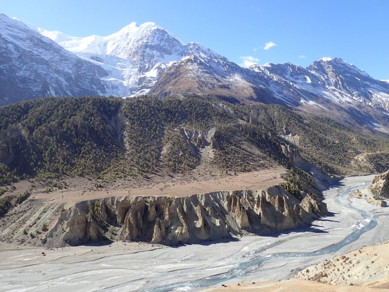 Gangapurna and Khangsar Khola valley, on the beginning of Tilicho Lake trek.